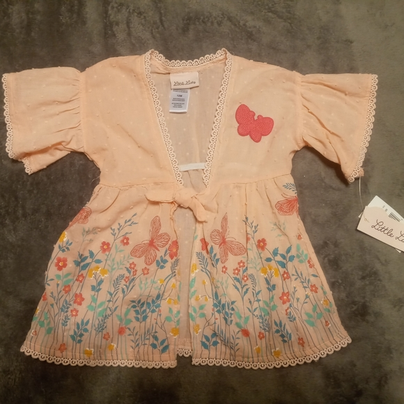 Super cute Little Lass Pink Butterfly top